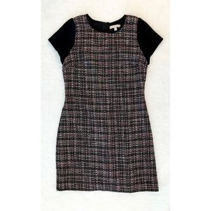 BANANA REPUBLIC Black Pink Tweed Shift Dress